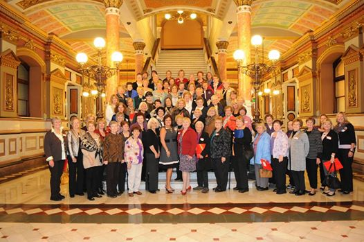 GFWC Illinois visit Springfield for Legislation Day. JJWC members Sherry Anicich and Kim Kalafut spoke about domestic violence and the Purple Project organization.